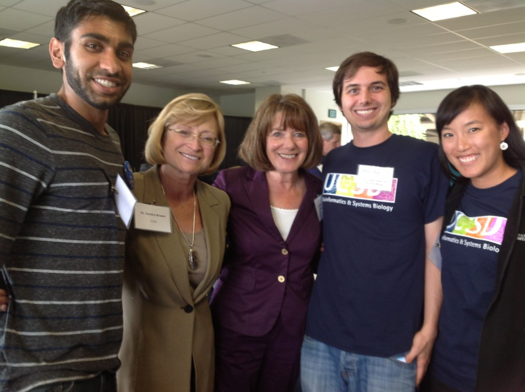 Bioinformatics and Systems Biology graduate students meet with UCSD Vice Chancellor of Research Sandra Brown and Congresswoman Susan Davis at the 2014 San Diego Festival of Science and Engineering. (left to right: Anand Patel, Sandra Brown, Susan Davis, Eric Scott)